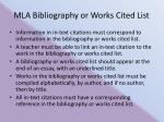 mla bibliography or works cited list
