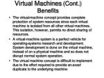 virtual machines cont benefits