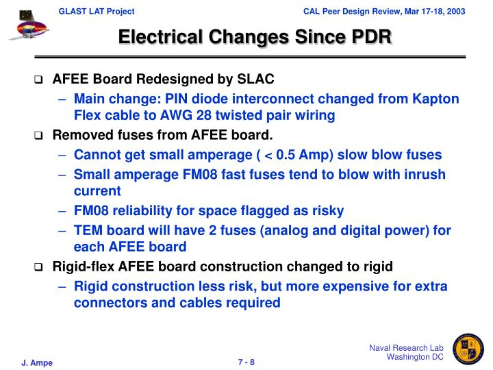 Electrical Changes Since PDR