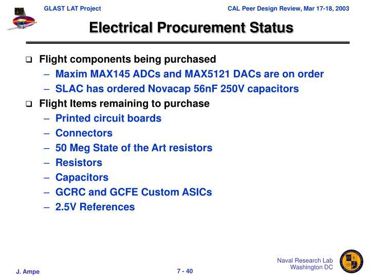 Electrical Procurement Status