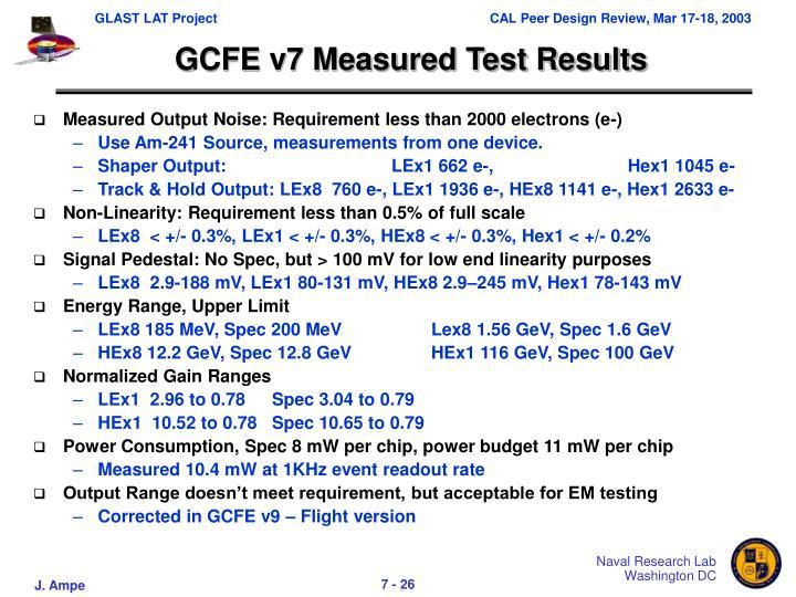 GCFE v7 Measured Test Results