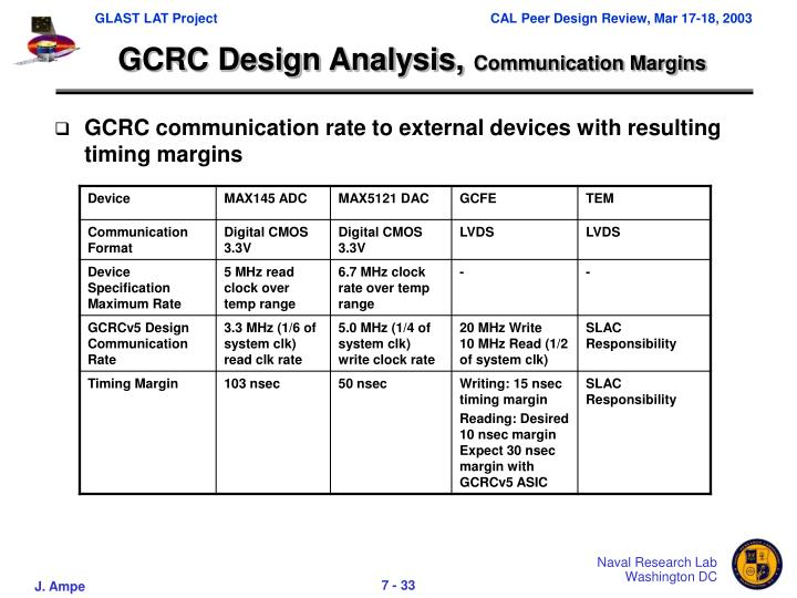 GCRC Design Analysis,
