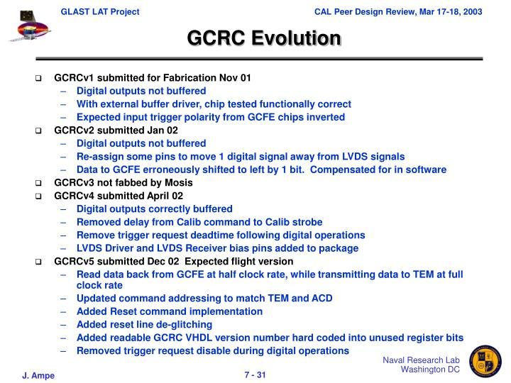 GCRC Evolution