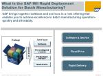 what is the sap mii rapid deployment solution for batch manufacturing