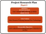 project research plan part i1