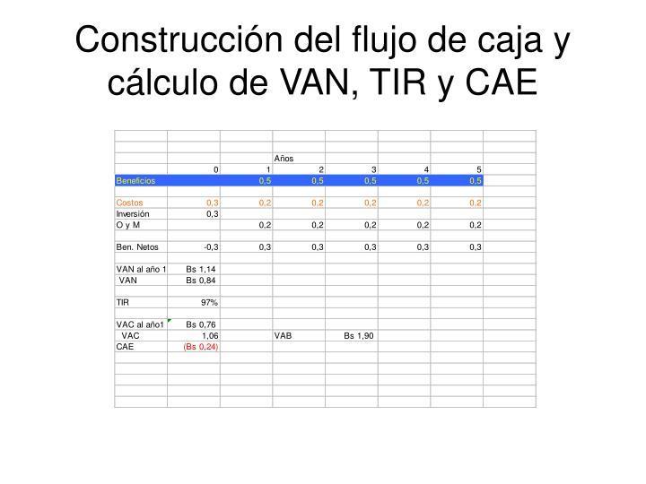 Construcción del flujo de caja y cálculo de VAN, TIR y CAE