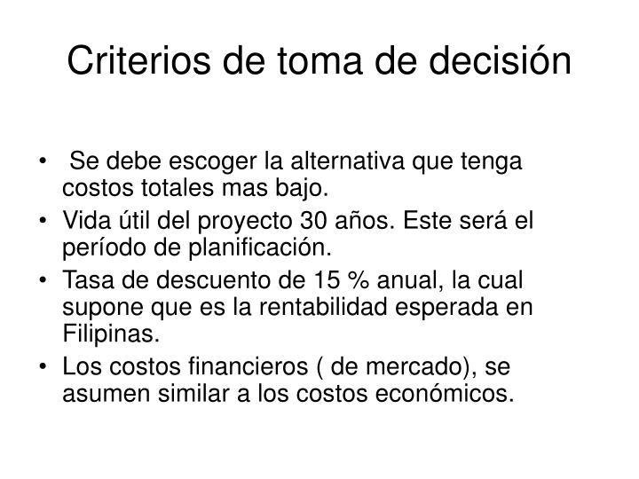 Criterios de toma de decisión