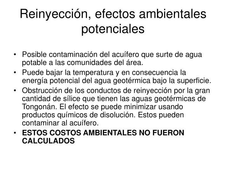 Reinyección, efectos ambientales potenciales