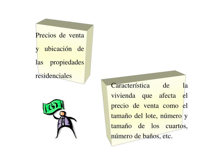 Precios de venta y ubicación de las propiedades residenciales
