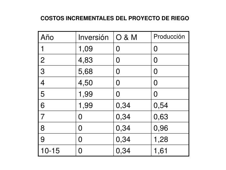 COSTOS INCREMENTALES DEL PROYECTO DE RIEGO