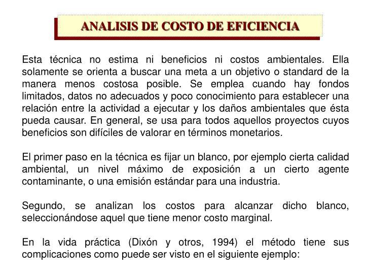 ANALISIS DE COSTO DE EFICIENCIA