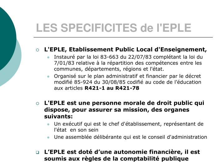 LES SPECIFICITES de l'EPLE