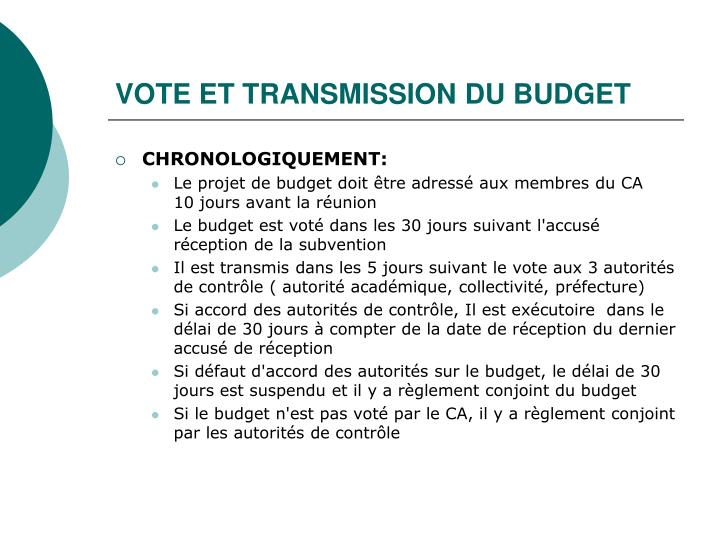 VOTE ET TRANSMISSION DU BUDGET