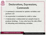declarations expressions commands