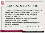 machine code and assembly