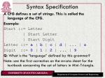 syntax specification1