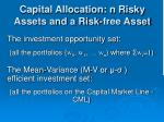 capital allocation n risky assets and a risk free asset1