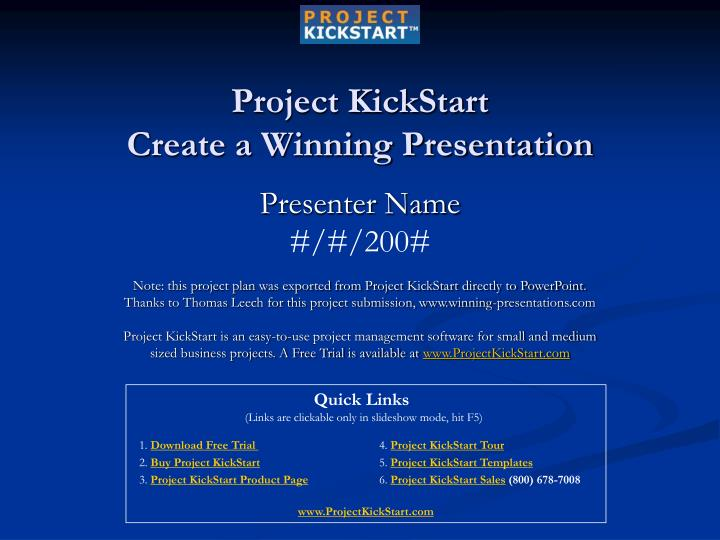 project kickstart create a winning presentation n.