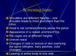 screening hints
