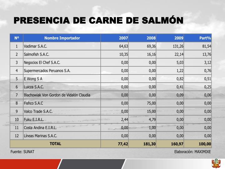 PRESENCIA DE CARNE DE SALMÓN