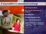a long tradition in international exchange