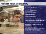 research within the university