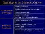 identifica o dos materiais cr ticos