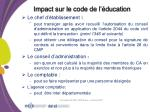 impact sur le code de l ducation