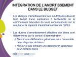 int gration de l amortissement dans le budget