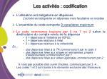 les activit s codification