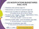 les modifications budgetaires avec vote