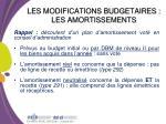 les modifications budgetaires les amortissements