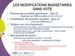 les modifications budgetaires sans vote