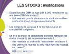 les stocks modifications