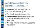 a system consists of five elements these are