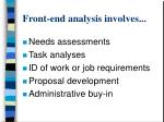 front end analysis involves