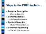 steps in the pbid include