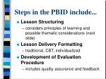 steps in the pbid include1