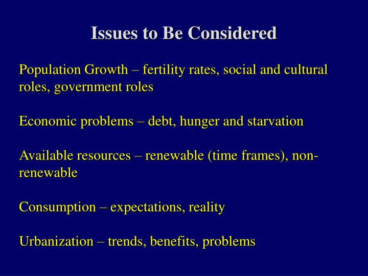 Issues to be considered