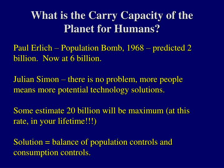 What is the Carry Capacity of the Planet for Humans?