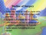 decline of surgery