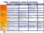 plan calendario y plan de acciones