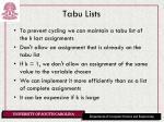 tabu lists
