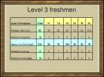 level 3 freshmen