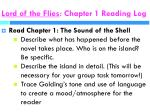 lord of the flies chapter 1 reading log