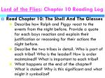 lord of the flies chapter 10 reading log