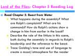 lord of the flies chapter 5 reading log