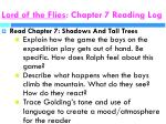 lord of the flies chapter 7 reading log