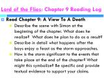 lord of the flies chapter 9 reading log