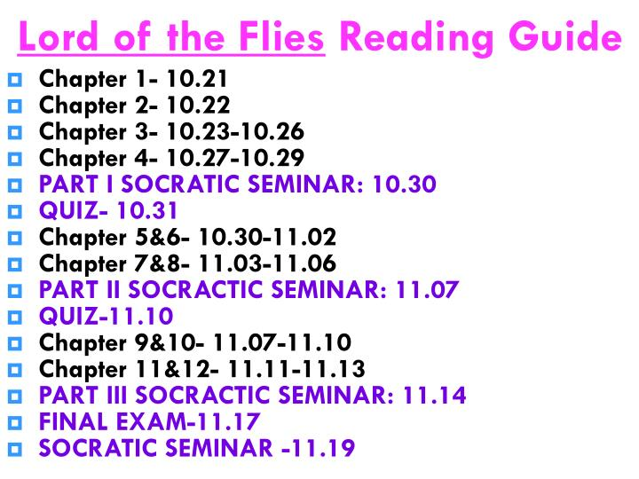 lord of the flies reading guide n.